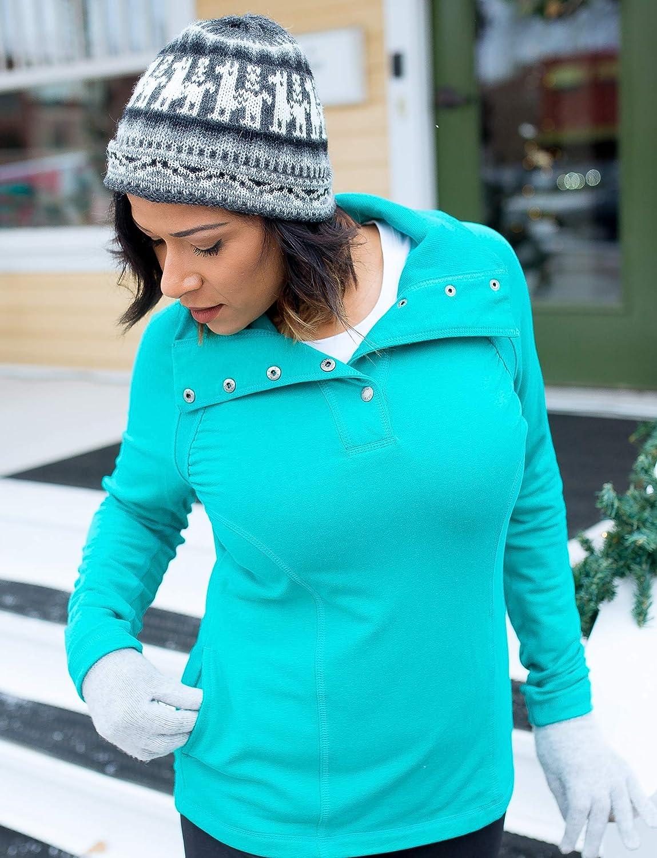 Alex + Abby Damen Sweatshirt mit Schnappverschluss Dynastie Grün