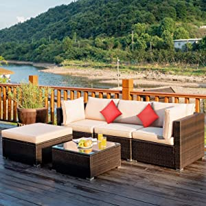 Tangkula 5 PCS Patio Rattan Furniture Set, Outdoor Sectional Rattan Sofa Set with Back & Seat Cushions, Wicker Conversation Set with Tempered Glass Table for Backyard Porch Garden Poolside (Brown)