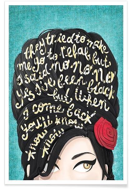 Juniqe Posters 20x30cm Amy Winehouse Lyrics Design Rehab Draw Me