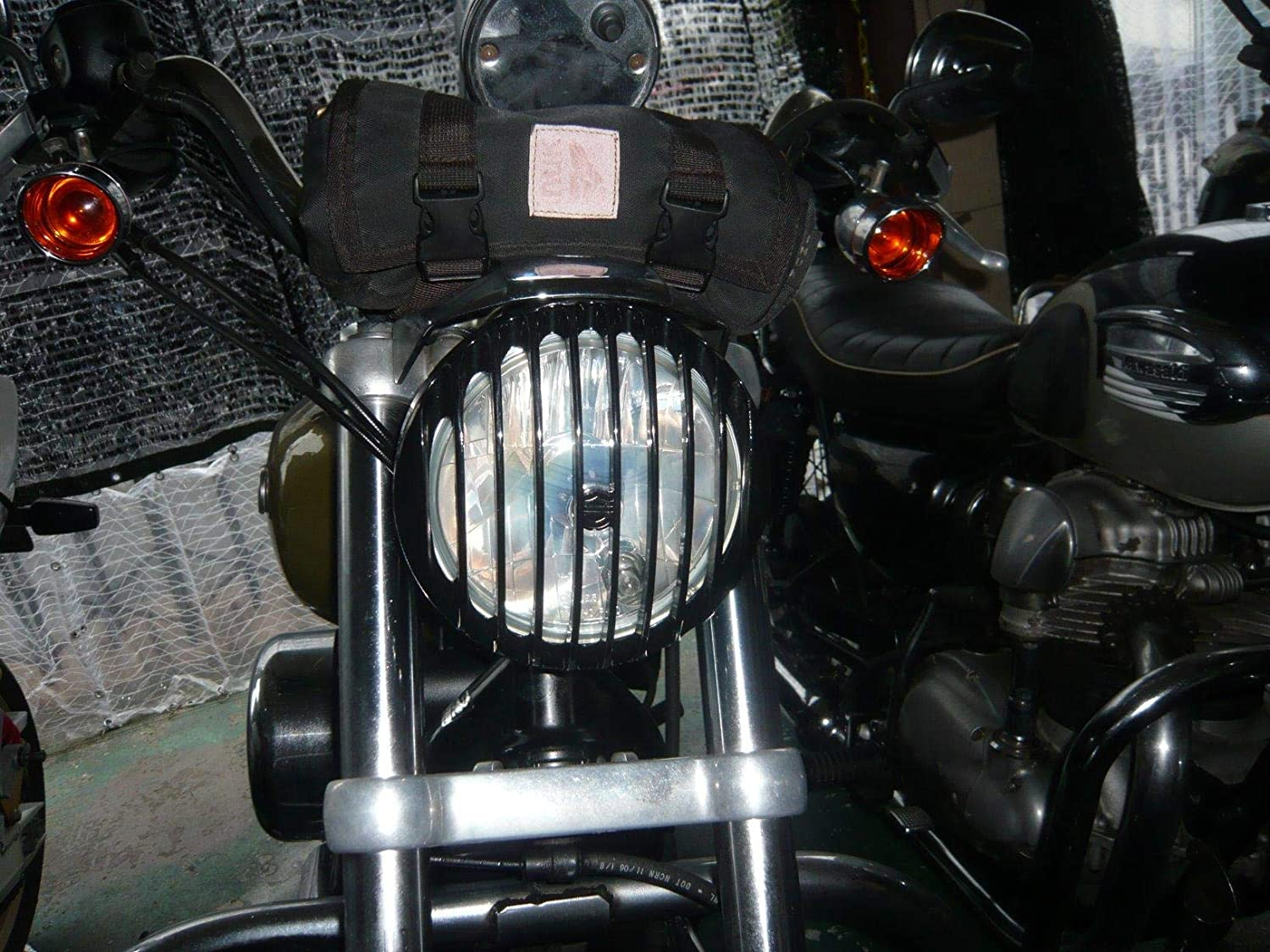 AQIMY 5 3/4 Black CNC Headlight Grill Cover for Harley Davidson ...