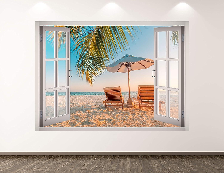 """West Mountain Beach View Wall Decal Art Decor 3D Window Ocean Sticker Mural Kids Room Custom Gift BL120 (40"""" W x 30"""" H)"""