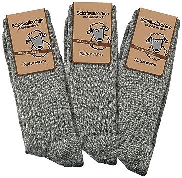 Calcetines 3 pares Calcetines de lana de 100% de lana de oveja naturwarm Grau-Melange Talla:39/42: Amazon.es: Deportes y aire libre