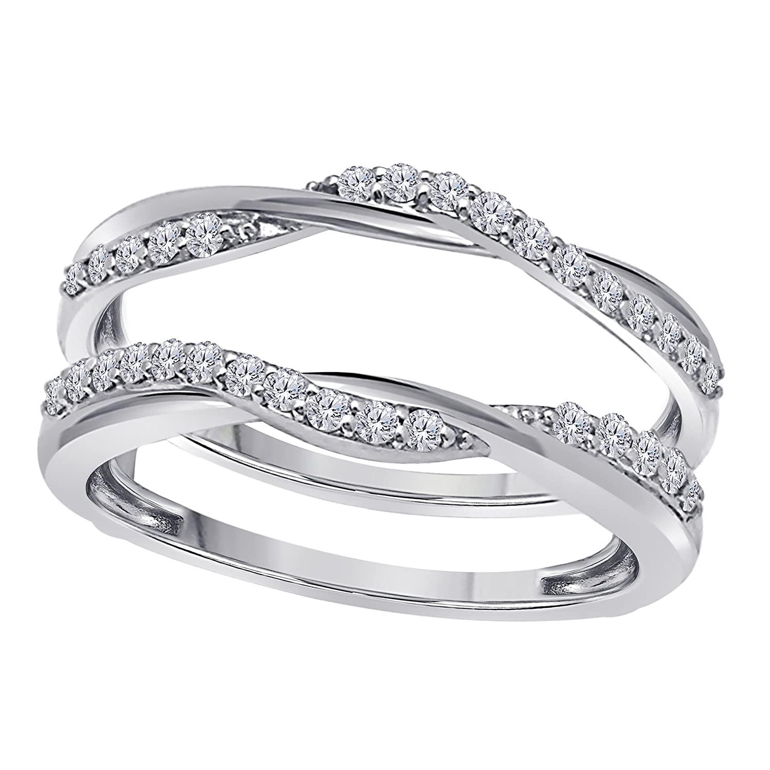 Sterling Silver Plated Delicate Bypass Infinity Style Vintage Wedding Ring Guard Enhancer with Cubic Zirconia (0.50 ct. tw.) Star Retail Fiftyone-01
