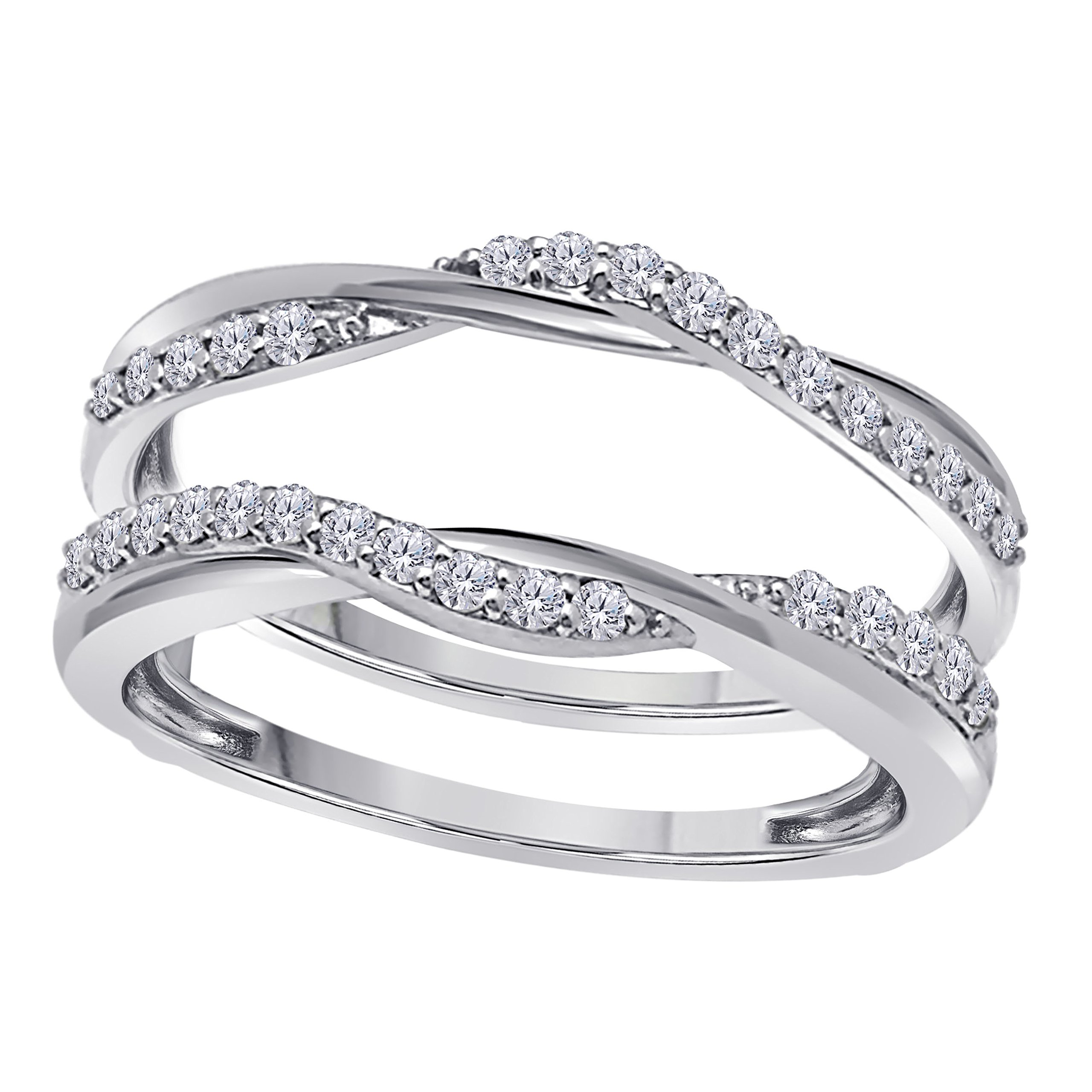 Sterling Silver Plated Delicate Bypass Infinity Style Vintage Wedding Ring Guard Enhancer with Cubic Zirconia (0.50 ct. tw.)
