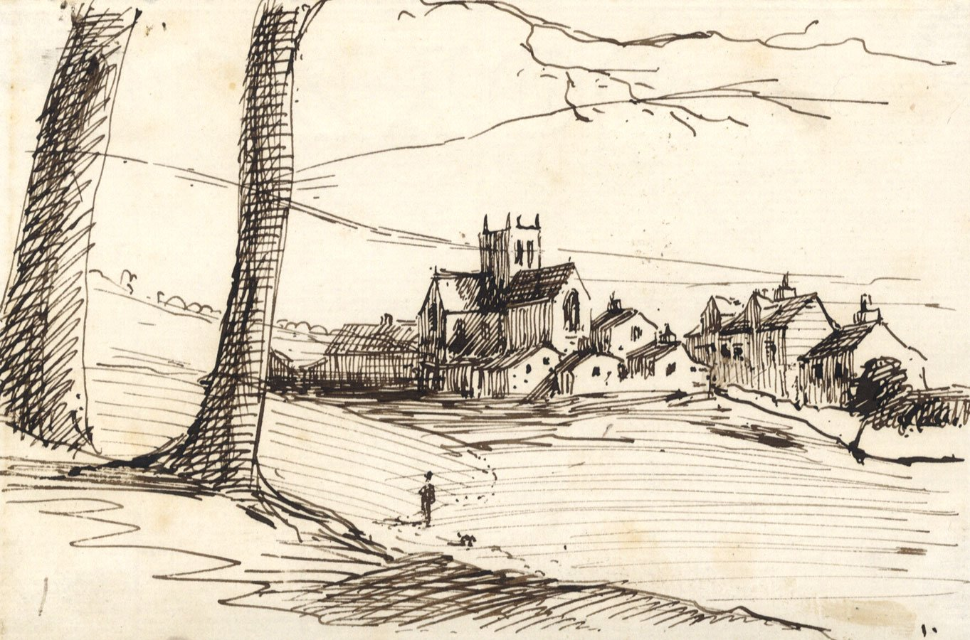 Mid 19th century pen and ink drawing village view with church amazon ca home kitchen