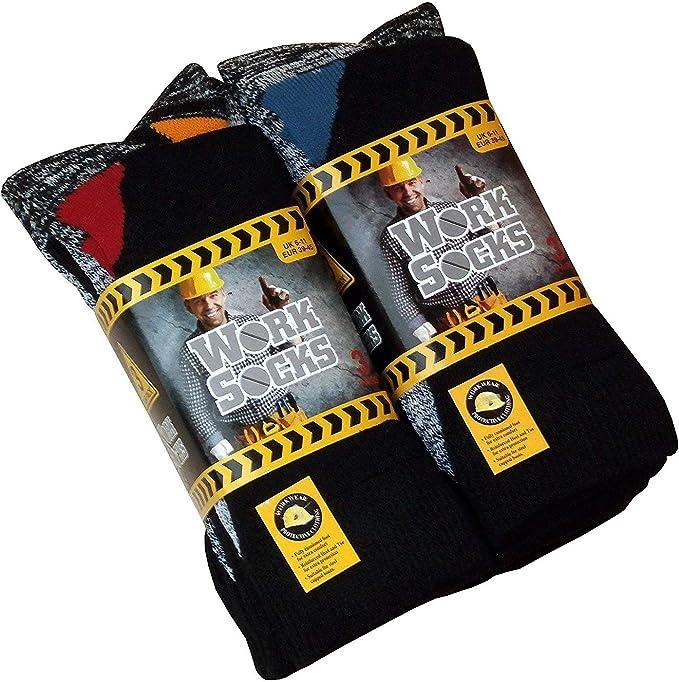 3 Pack Mens Work Socks Heavy Duty Thick Cotton Blend 6-11 Black Cushion Boot Sox