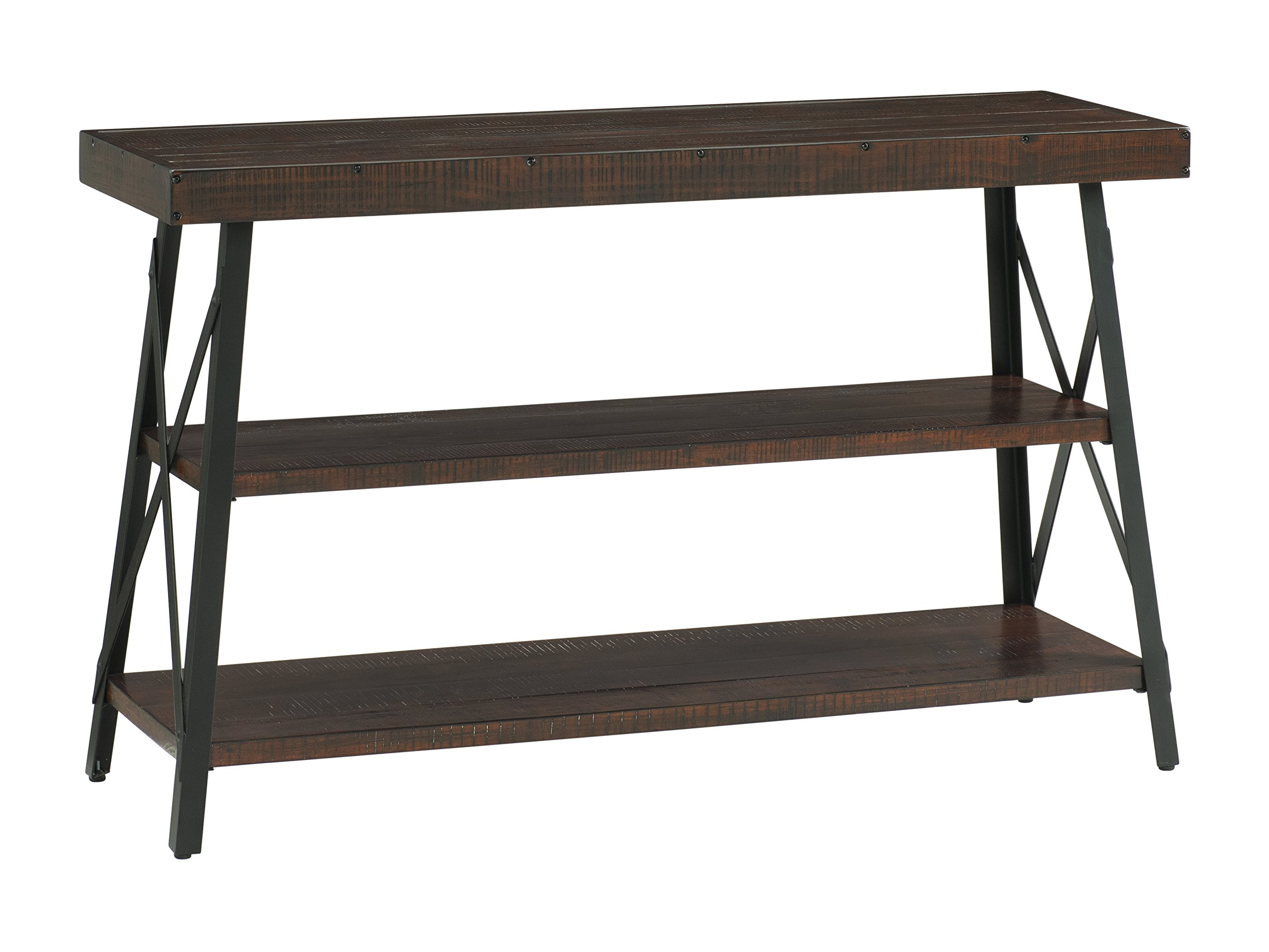 "Martin Svensson Home 890445 Xavier Sofa Console Table, Sumatra - Finish: Sumatra - blend of a deep rich Coffee Finish with a slight amount of white pumice hang up Crafted from solid wood - New Zealand pine with rough hewn saw marks Exposed rivets across the Top and Black Steel metal ""x"" cross on the end caps give it a distinct industrial and rustic look - living-room-furniture, living-room, console-tables - 810yGwulMvL -"
