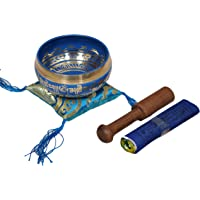 Dharma Store - Tibetan Meditation Singing Bowl for Relaxation and Healing - with Traditional Design Tibetan Buddhist Prayer Flags - Handmade in Nepal