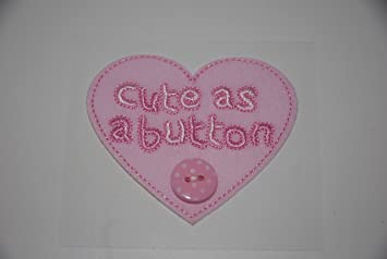 Baby Girl Pink Cute As A Button Card Topper Embellishment