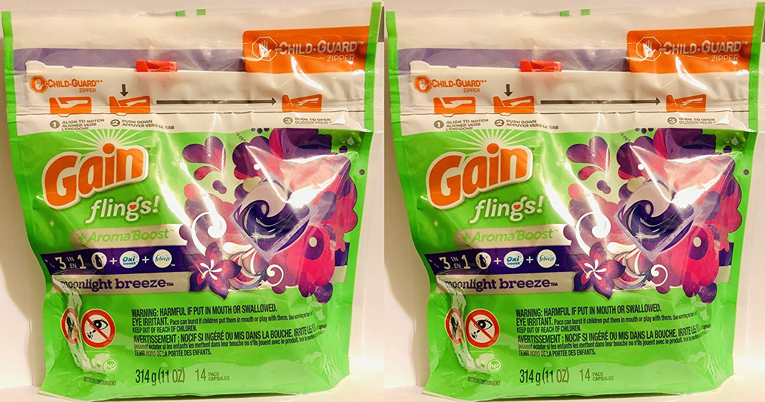Gain Flings Laundry Detergent Pods - Moonlight Breeze Scent - 14 Count Pacs Per Package - Pack of 2 Packages (Total of 28 Pods)