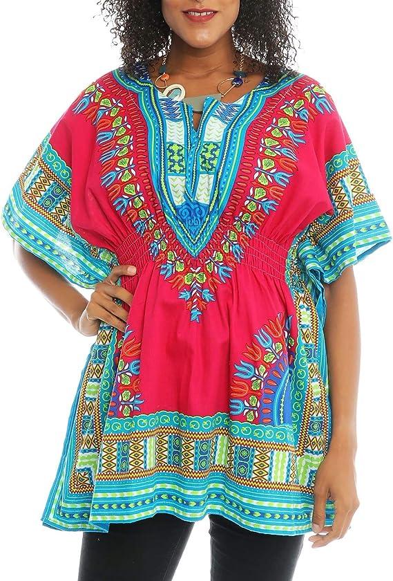 Details about  / Womens Top Shirt Dashiki Green Red Cotton Free Size Fits Size 2X 3X Advance