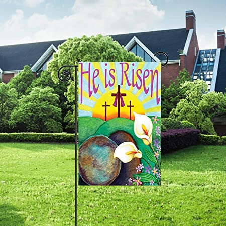 Amazon.com: Bandera de jardín LHSION He is Risen de 12,5 x ...