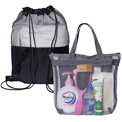 e52e2ac0b214 Attmu 2 Pack Shower Tote Bag Mesh Shower Bag Portable Toiletry Shower Caddy  Bag for College Dorm Bathroom Accessories