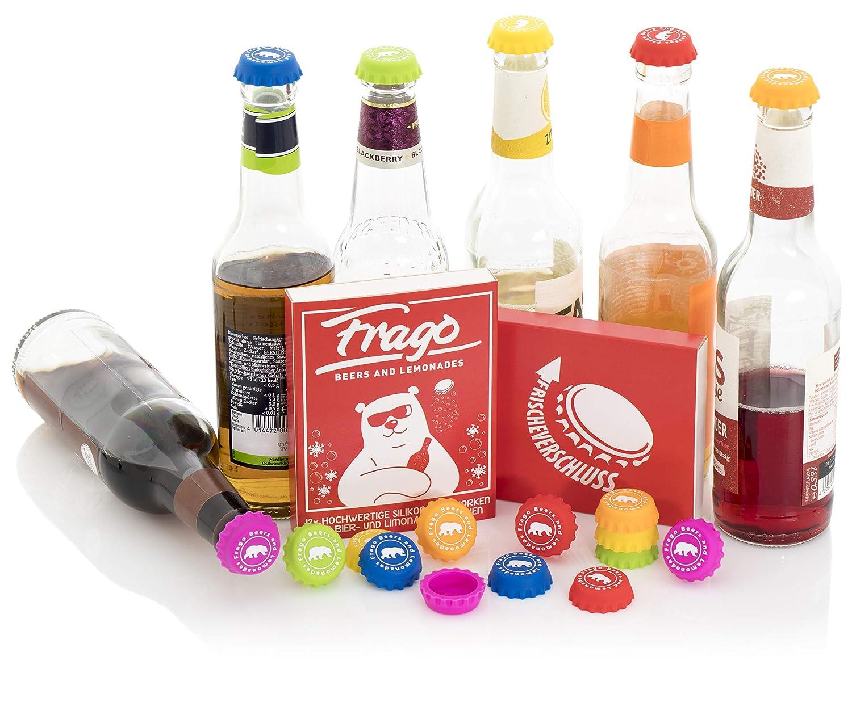 Frago Silikon-Kronkorken Wiederverwendbar Glas-Markierer Flaschen-Verschluss f/ür Bier- und Limonaden-Flaschen 12 St/ück