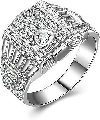 SonMo 925 Echt Silber Ring Solitär Ringe Weiß Diamant Ring