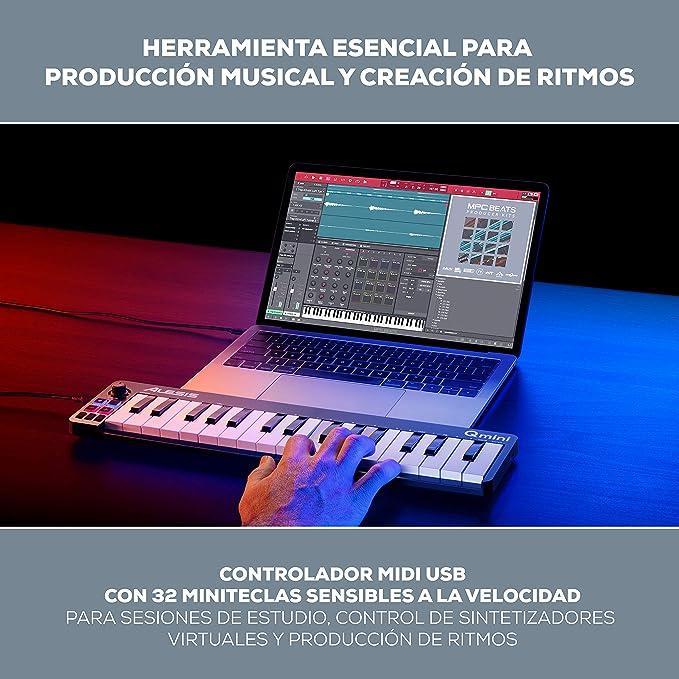 Alesis Qmini - Teclado controlador MIDI USB portátil de 32 teclas de acción sintetizador sensibles a la velocidad y software de producción musical