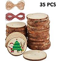 Ipow [35PCS] Rodajas de madera círculos 6-7cm grande