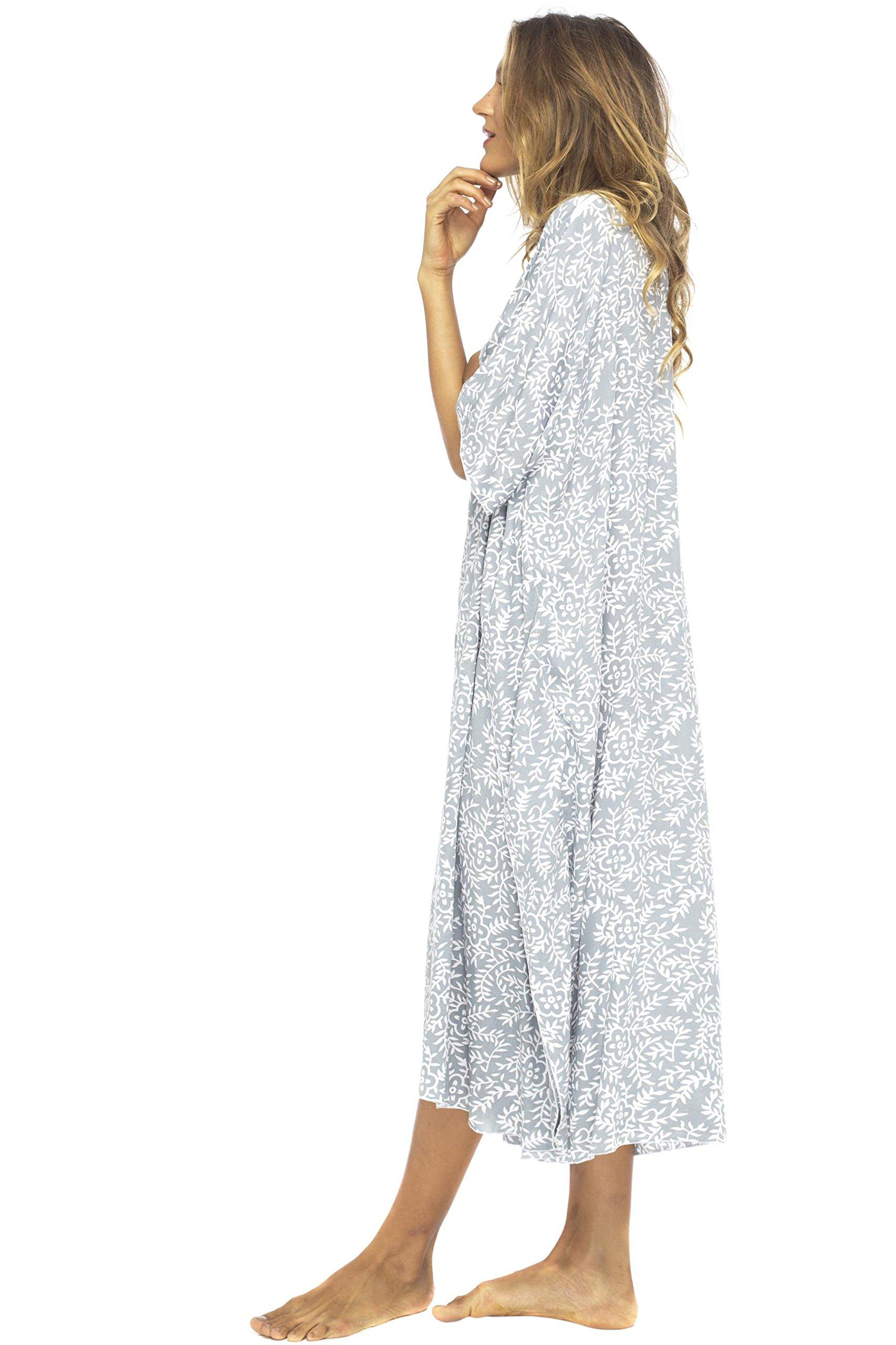Back From Bali Womens Loose Maxi Beach Dress Cover up Long Poncho Bun Grey