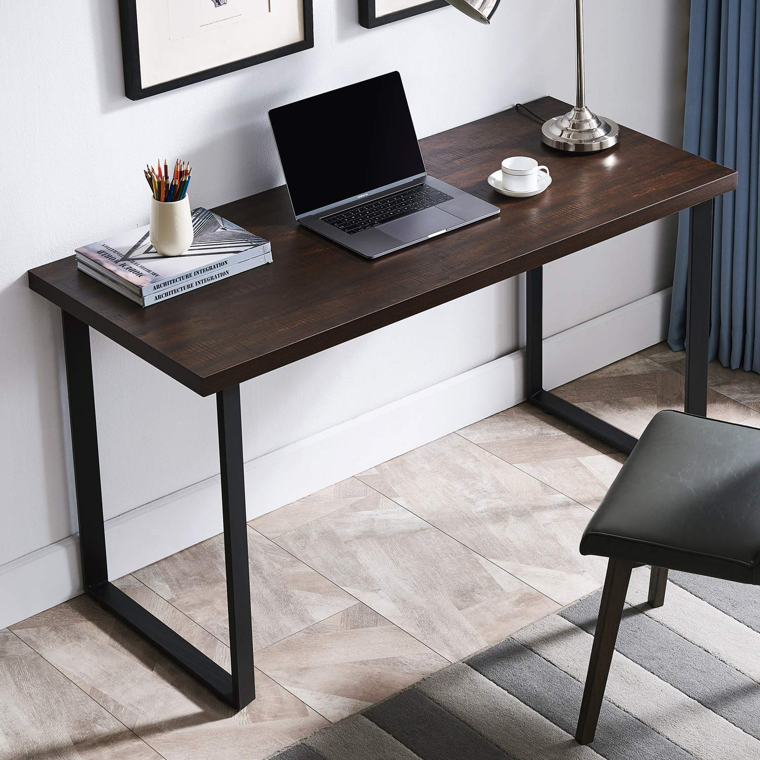 AMOAK Computer Desk 55'', Modern Writing Desk, Simple Study Table, Industrial Office Desk, Sturdy Laptop Table for Home Office, Brown