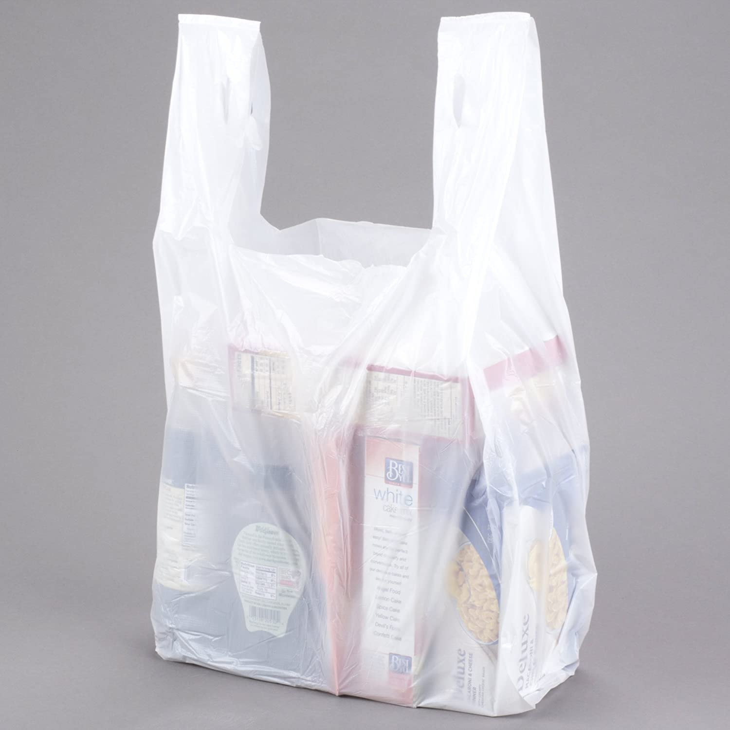 Large Plastic Grocery T-shirts Carry-out Bag Plain White 12 X 6 X 21 (250)