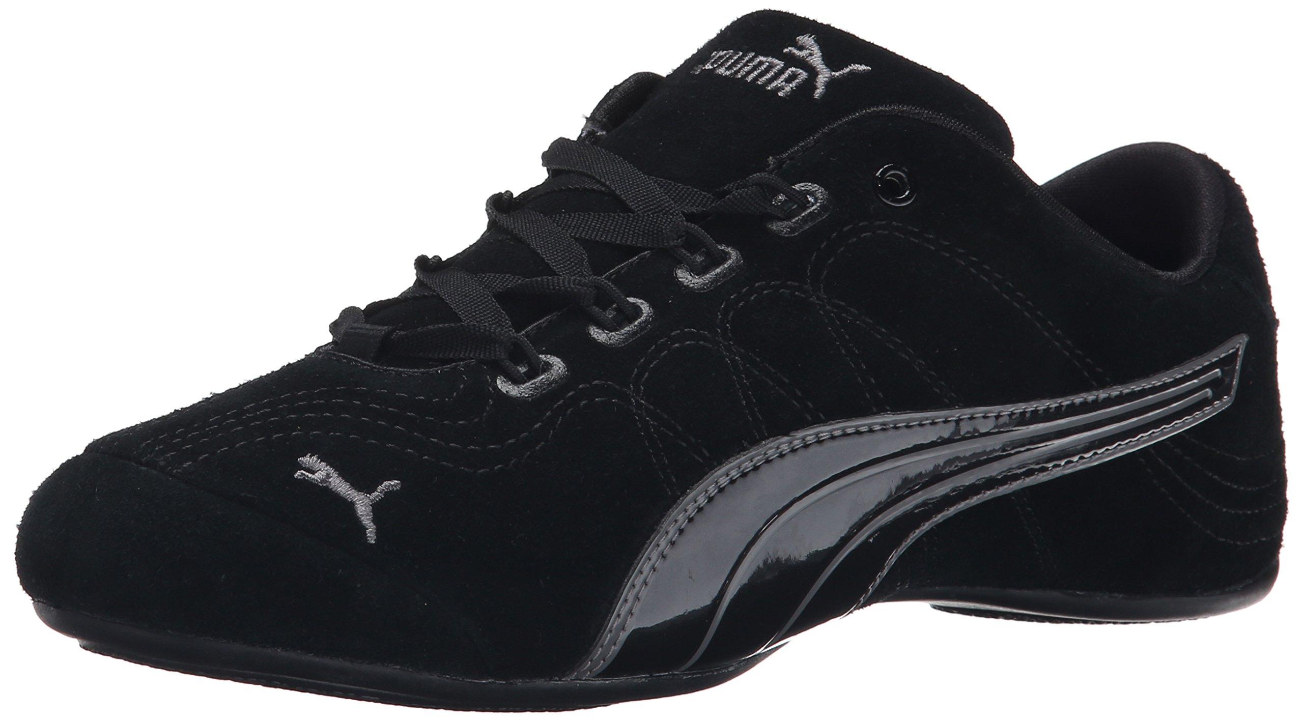 PUMA Women's Soleil V2 Suede Patent Sneaker, Black/Steel Gray, 7 B US