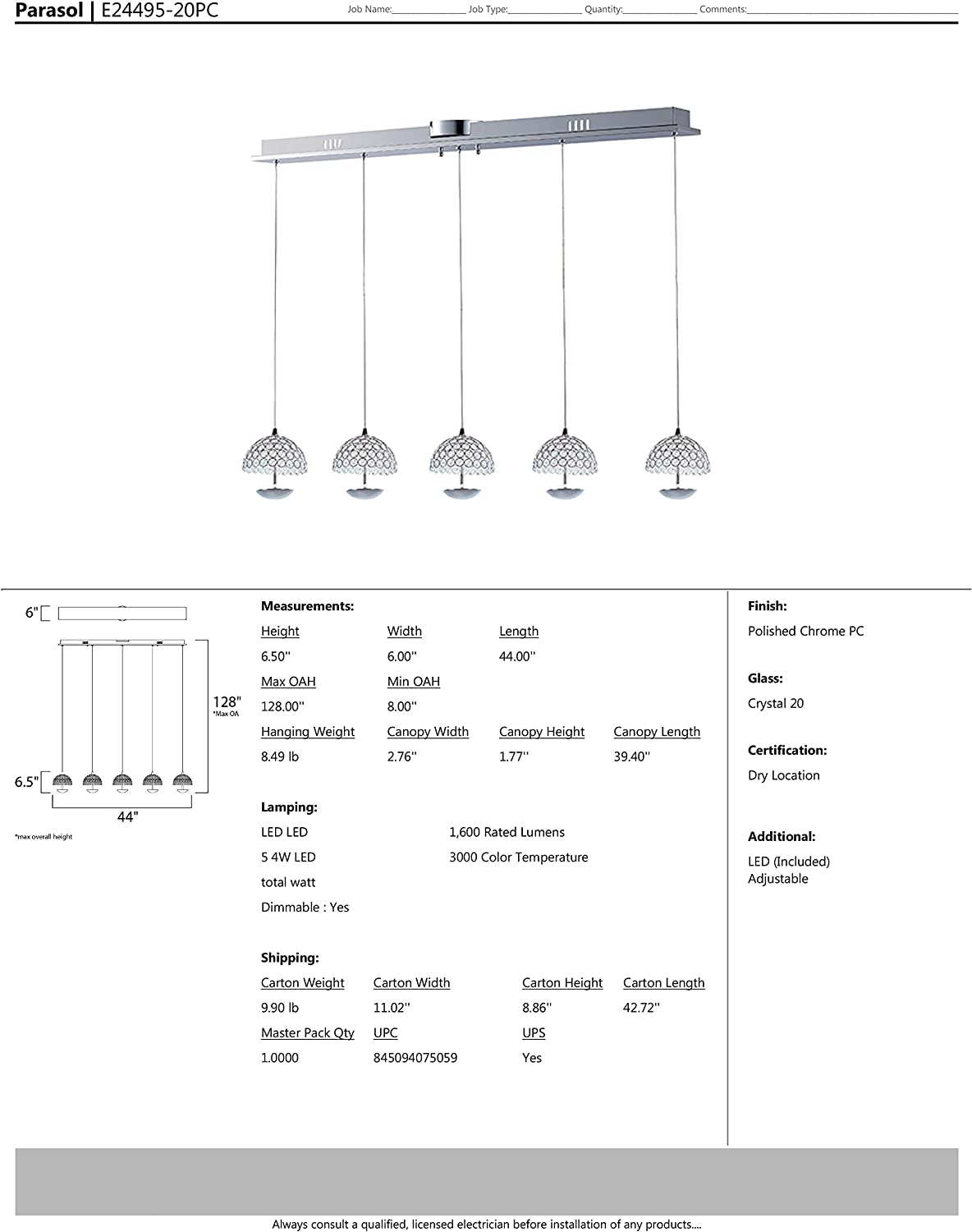 Dry Safety Rated Rated Lumens Low-Voltage Electronic Dimmer Shade Material ET2 E24495-20PC Parasol 5-Light LED Multi-Light Pendant LED Bulb Crystal Glass 6W Max. Polished Chrome Finish