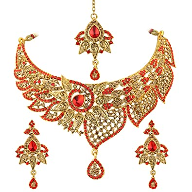 Buy Spargz Indian Style Gold Plated Red Ad Stone Fashion Bridal