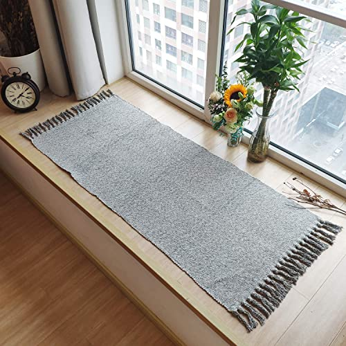 Ustide Hand Woven Rug Braided Rug Gray White Cotton Reversible Rug with Tassels Floor Runner for Laundry Room Kitchen Bathroom Bedside 23.6 x70