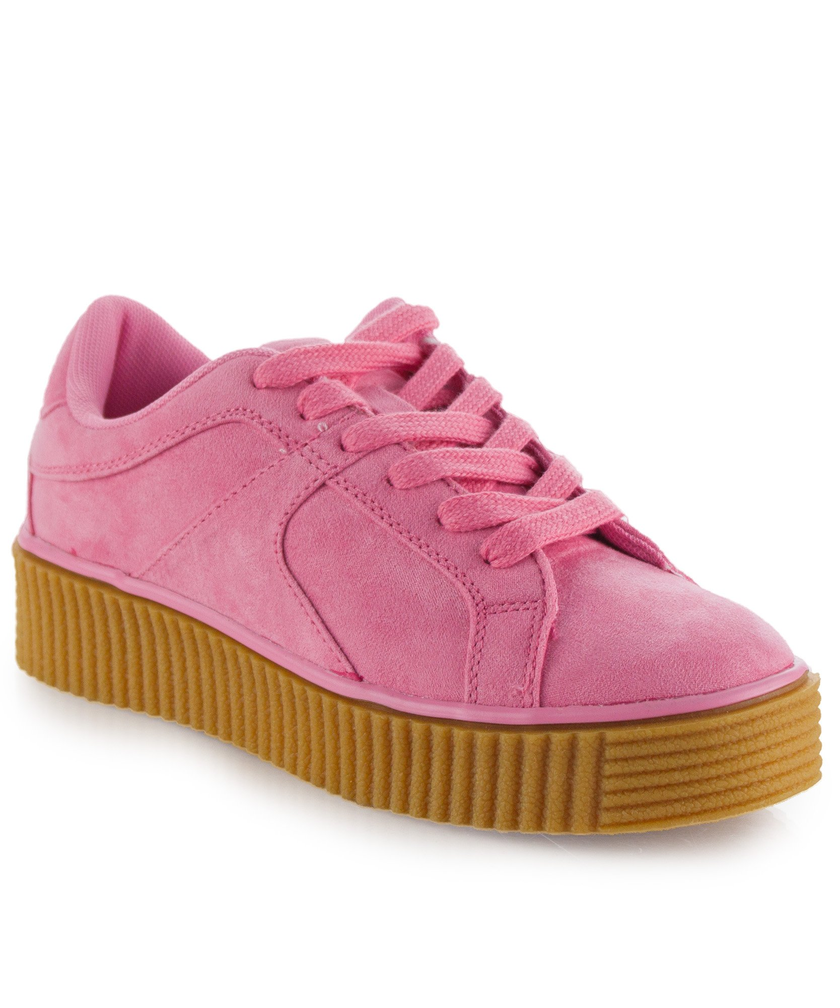 RF ROOM OF FASHION Women's High and Low Top Lace up Fashion Platform Sneakers - Trendy Flatform Creepers - Flat Shoes Pink SU (6)