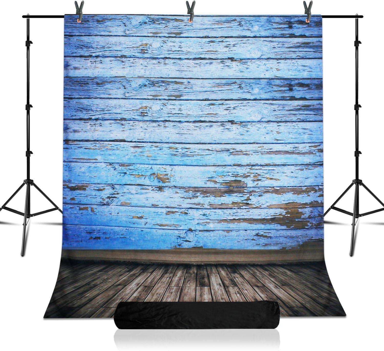 Backdrop Support System Kit with 5 x 10 ft Vintage Blue Wood Floor Backdrop Adjustable Background Support Stand JSAG361 Julius Studio Photo Studio 7.5 x 10 ft