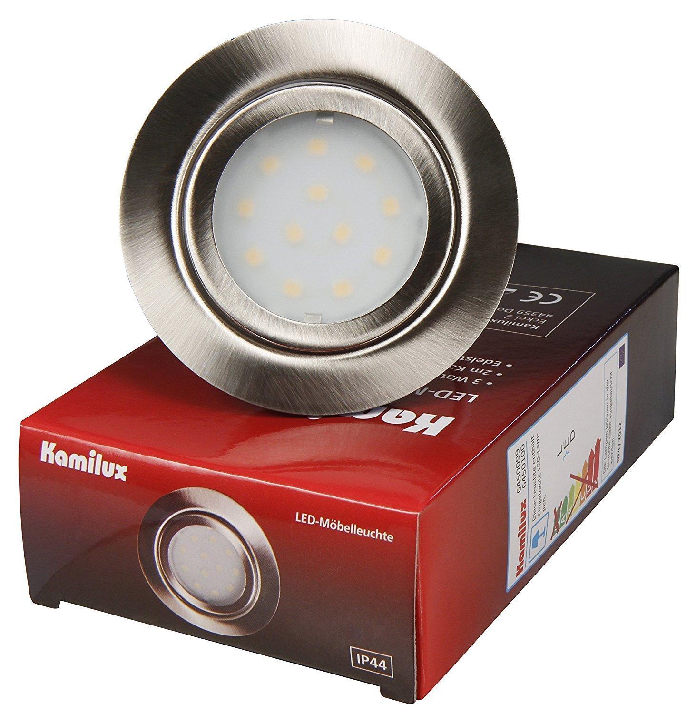 6er Set LED LED LED Möbeleinbauleuchte Malo IP44 3Watt, Edelstahl gebürstet, Lichtfarbe Kaltweiß, 4000 Kelvin, 12V Anschluß, Einbautiefe 22mm, fertig montiert mit AMP Stecker inklusive LED Trafo 20 Watt IP20 1a15f5
