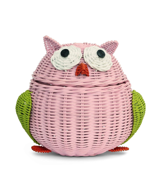 G6 COLLECTION Owl Rattan Storage Basket with Lid Decorative Bin Home Decor Hand Woven Shelf Organizer Cute Handmade Handcrafted Gift Art Decoration Artwork Wicker Owl (Large, Pink)