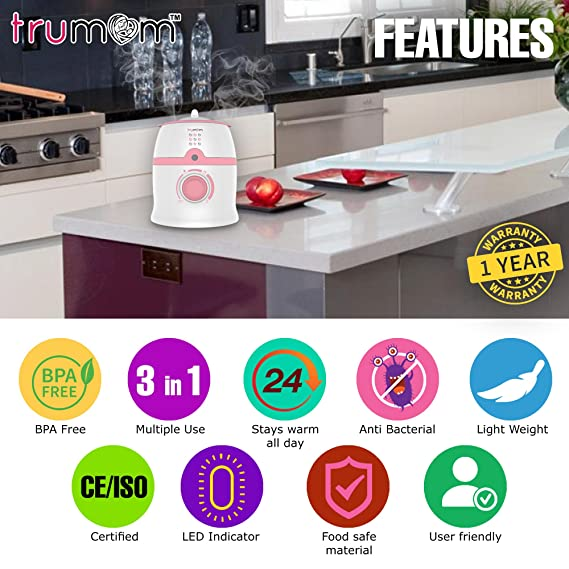 Trumom (USA) 3 In 1- Baby Bottle Warmer, Food Heater And Sterilizes Baby Teats, Other Feeding Equipment And Small Toys