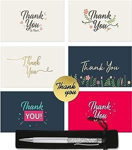 48 tarjetas de agradecimiento a granel – notas de agradecimiento en blanco con sobres, pegatinas de sellado y lápiz capacitivo plateado de cortesía: Amazon.es: Oficina y papelería