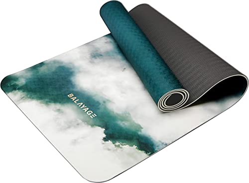 Balayage Yoga Mat TPE Green Non-Slip, Great for Exercise and Workout- 6mm Thick, Extra Sticky, Non Toxic and eco Friendly