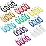Goodlucky365 40 Pièces de Étiquettes ID de Porte-clés en Plastiques Multicolore Étiquettes de Bagages ID avec Anneau de clé Fendu(Couleur aléatoire)