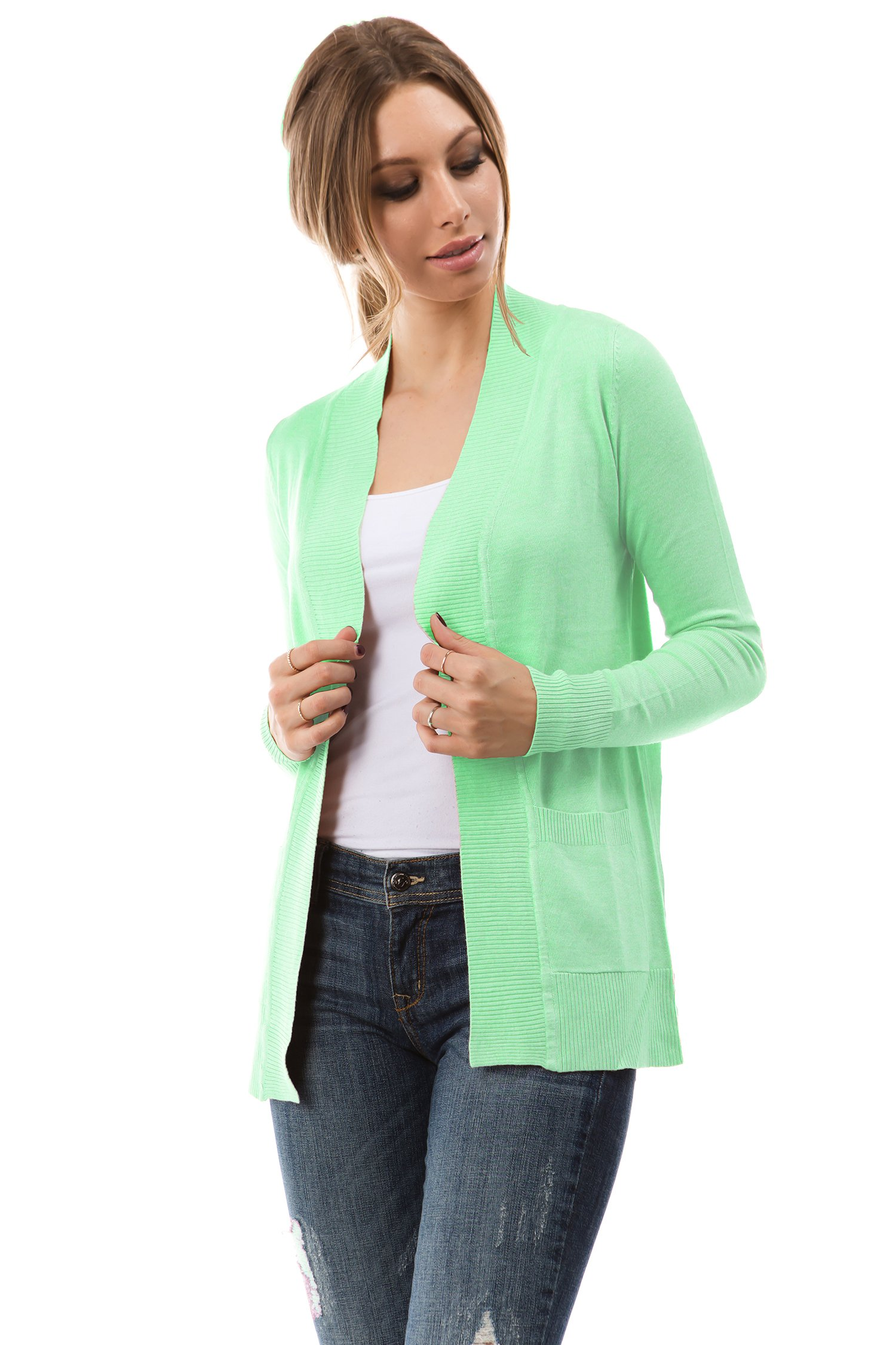 CIELO Open Front Solid Color Long Sleeve Sweater Cardigan Mint S