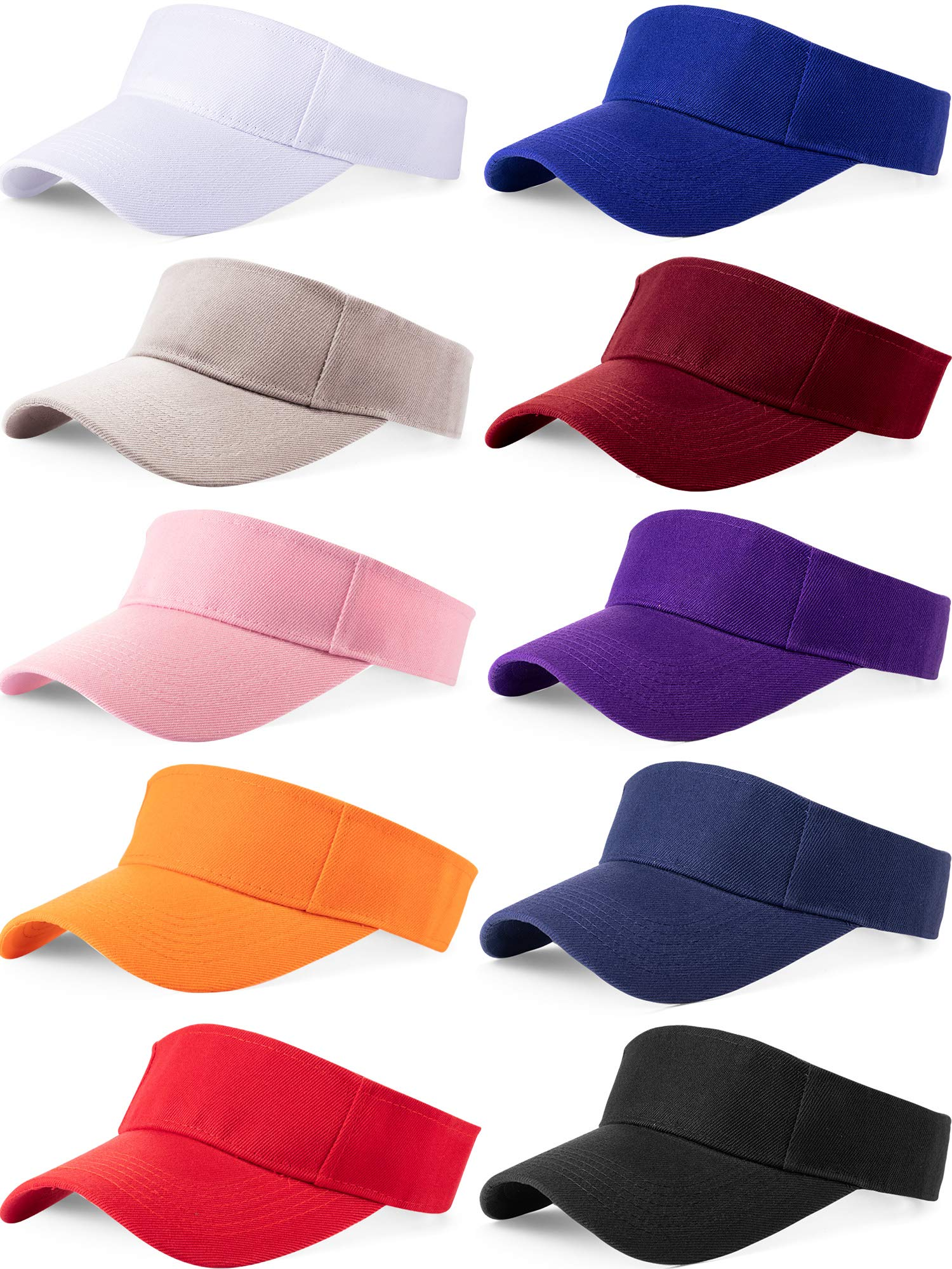 10 Pieces Sports Sun Visor Hats Adjustable Visor Cap Athletic Visor Hat for Men Women by SATINIOR