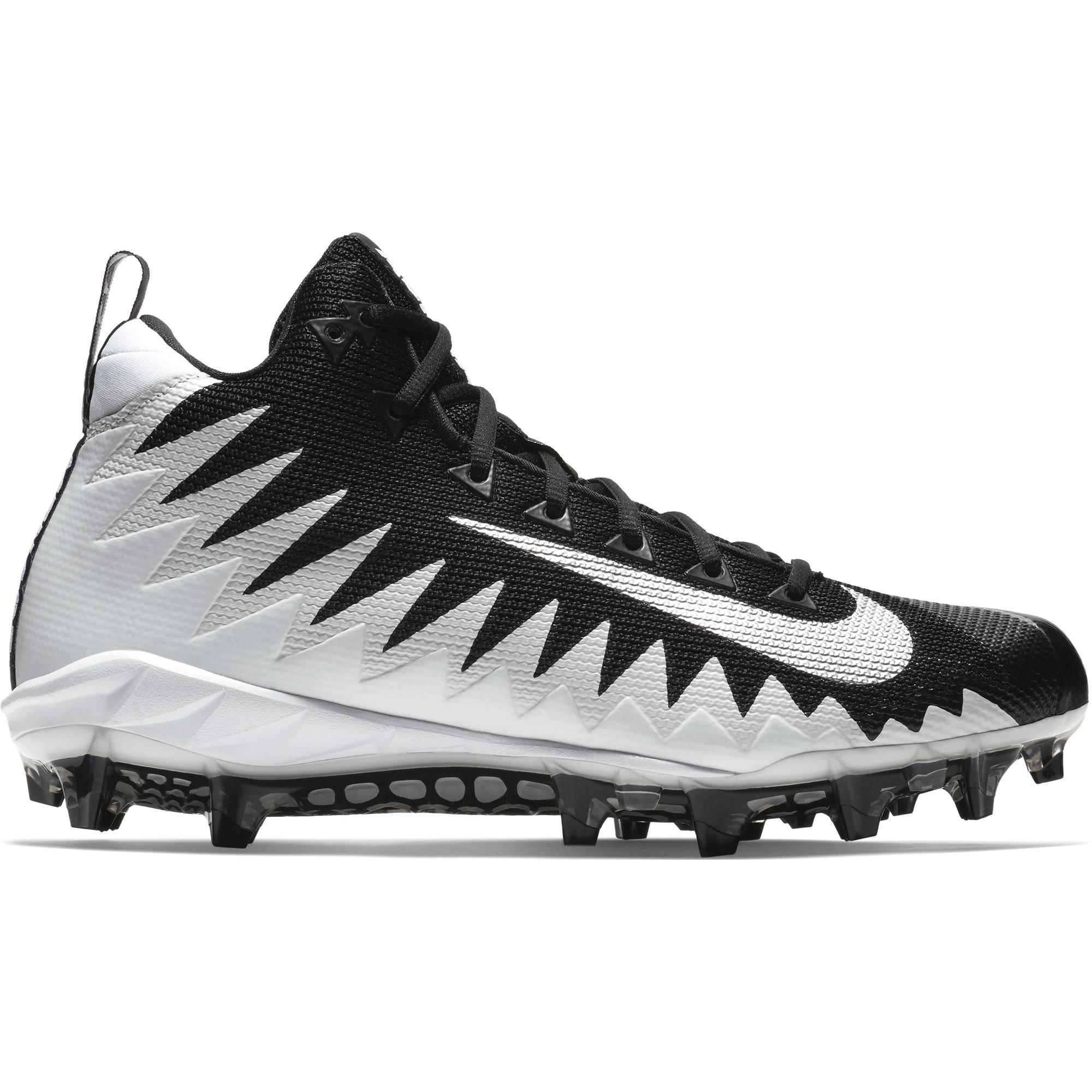 sale retailer a9800 b3492 Galleon - Nike Mens Alpha Menace Pro Mid Football Cleat WhiteMetallic  SilverBlack Size 11 M US