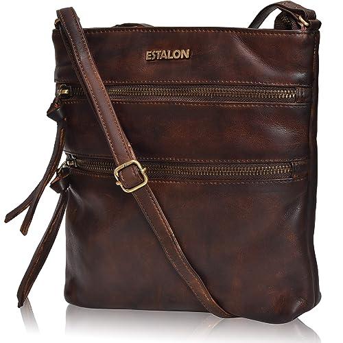 Amazon.com: Estalon - Bolso bandolera de piel para mujer ...