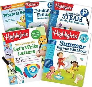 Highlights Summer Learning Pack Preschool-Kindergarten Workbooks, Reading, STEAM, Thinking Skills