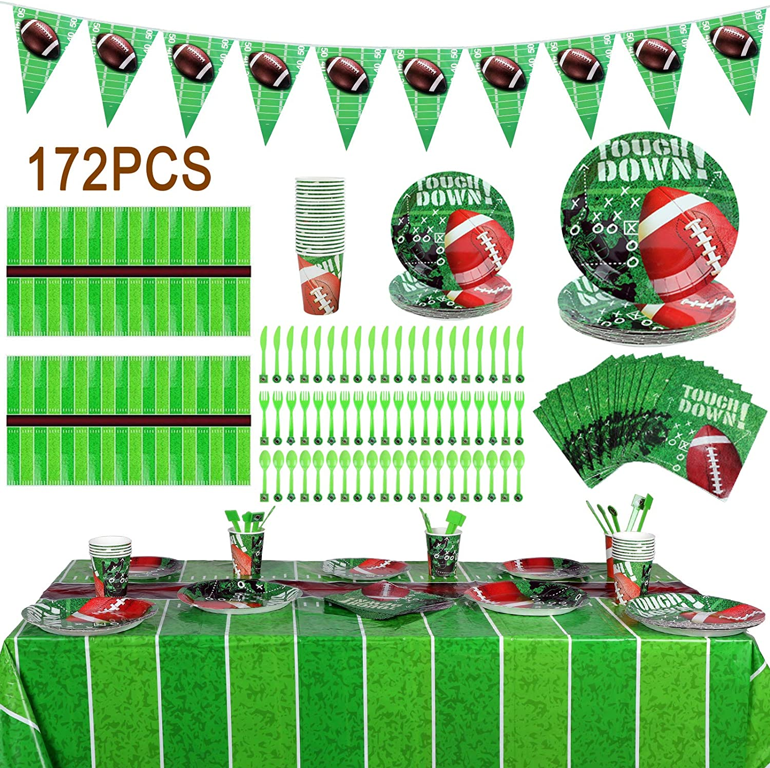 Sunnyholiday 172PCS Football Theme Party Decoration Supplies Set(Serves 20) Include Tablecloths, Banners, Plates, Cups, Napkins, Flatware Tableware Accessory for Super Bowl Soccer Theme Birthday Party
