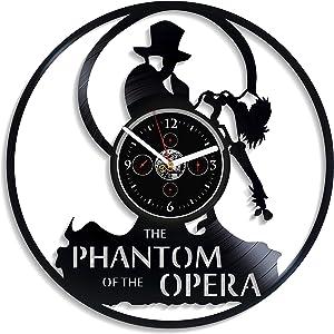 Kovides The Phantom Of The Opera Wall Clock Vintage Vinyl Record Retro Wall Clock Large Film Movie Drama Wall Clock 12 Inch Christmas Gift Birthday Gift Opera Gift For Girl New Year Gift Home Wall Art