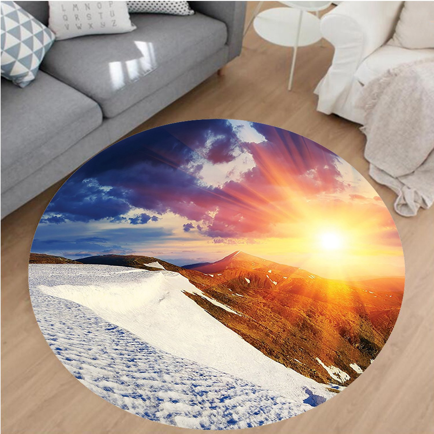 Nalahome Modern Flannel Microfiber Non-Slip Machine Washable Round Area Rug-Clouds Nature Mountain and Valley Sun Divider in College Landscape Home White Blue Yellow area rugs Home Decor-Round 67''