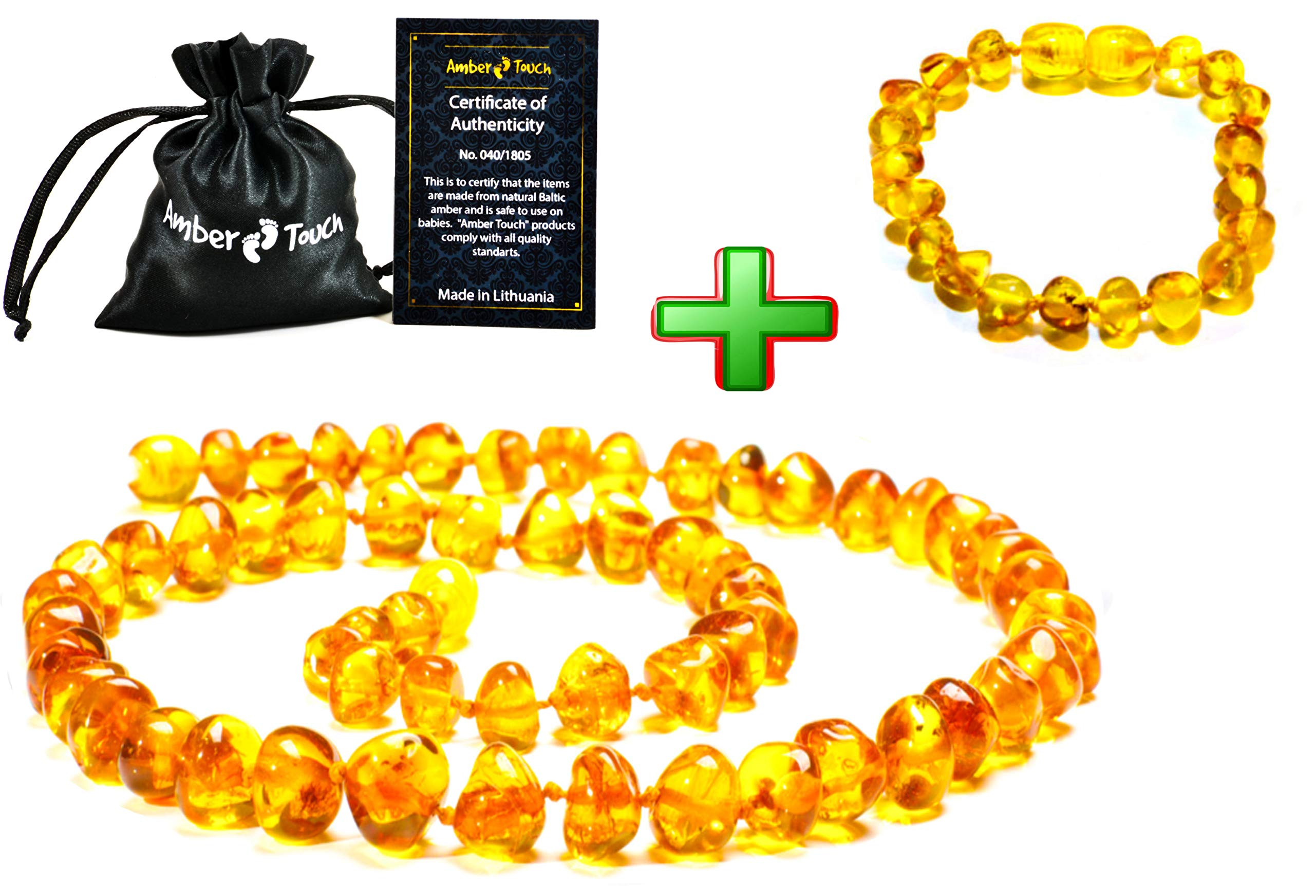 Baltic Amber Teething Necklace + Bracelet (Unisex) - Anti Flammatory, Drooling & Teething Pain Reduce Properties - Certificated Natural Baltic Amber with The Highest Quality. by Amber-Touch