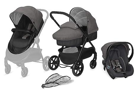 Cybex - Cochecito Onida y portabebé Shima, Travel System 3 en 1, incluye plástico de lluvia, desde el nacimiento, comfy grey