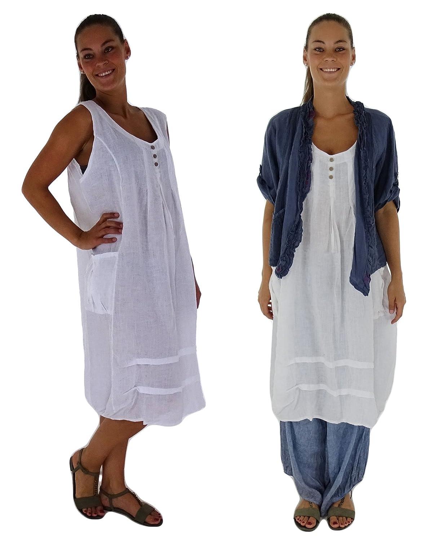 Mein Design Lagenlook de Mallorca Damen Kleid HF500 Leinen Longtunika Ballon ohne Arm uni Used Look Gr. 44, 46, 48, 50 tragbar