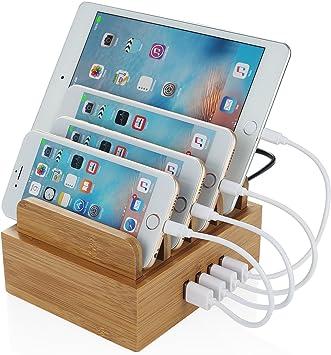 NEXGADGET Base de Carga de Bambú 4 Puertos USB Estación de Carga ...