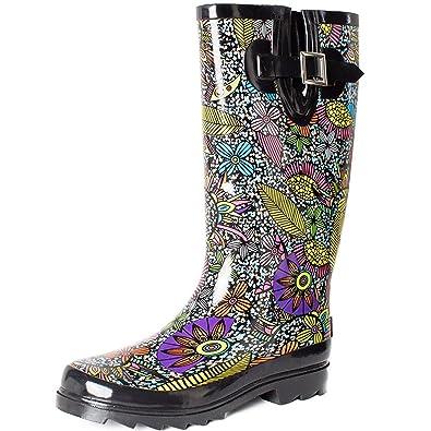 078b107d6be77 SheSole Women s Waterproof Rubber Rain Boot Black ...