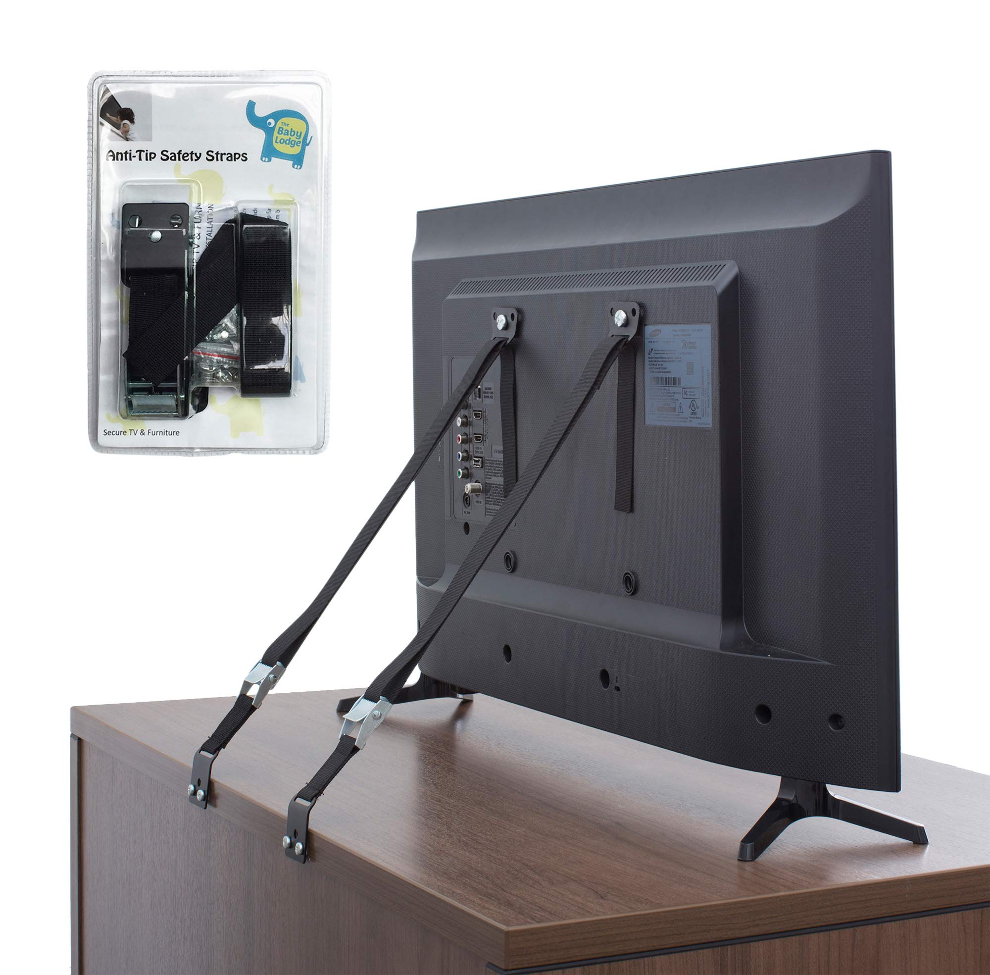 The Baby Lodge TV and Furniture Anti Tip Straps - Safety Furniture Wall Anchors for Baby Proofing Flat Screen TV, Dresser, Bookcase, Cabinets, and More - All Metal, No Plastic Parts (2 Pack, Black) by The Baby Lodge